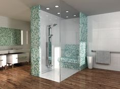 A custom Wedi shower stall complete with wellness bench. Spa Interior, Tile Stores, Custom Shower, Shower Systems, Tile Installation, Wet Rooms, Ceiling Design, Bathtub, Home