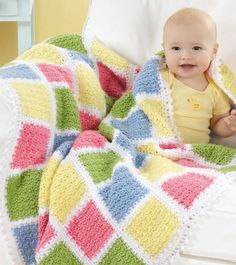 Crochet Baby Blankets with Love Timeless Classic Blankets for Every Baby Crochet Patterns Crochet Square Blanket, Baby Afghan Crochet, Crochet Square Patterns, Crochet Cushions, Manta Crochet, Crochet Designs, Baby Afghans, Baby Afghan Patterns, Crochet Blanket Patterns