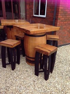 Square top barrel bar table and stools set made from recycled genuine Scottish whisky casks Bar Table And Stools, Kitchen Table Bench, Bar Table Sets, Bar Tables, Wine Barrel Table, Barrel Bar, Wood Furniture Store, Barrel Furniture, Kid Furniture