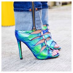 """Blue Green Snakeskin Print Gladiator Heels A vision of gorgeousness these are. Worn only once. Heels are around 4.75"""" and lace-ups completely adjustable. Shoes Heels"""