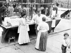 Little Italy, Vendor with Wares Displayed During a Festival. New York 1930s