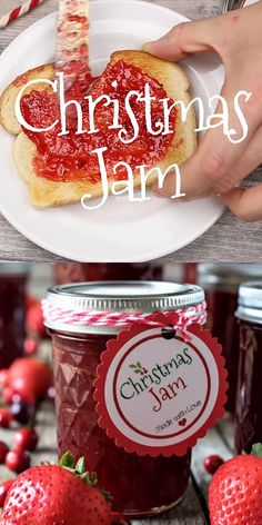 This super easy Christmas Jam has sweet-tart, delicious flavor! Plus we're sharing a free printable for the Christmas Jam labels you see in our photos!   #ChristmasJam #homemadejam #jam #strawberries #Cranberries