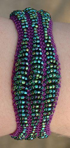 Emerald Beaded Bracelet free knitting pattern by Heather Murray | Jewelry Knitting Patterns, many free patterns, at  http://intheloopknitting.com/jewelry-knitting-patterns/