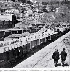 Photograph - The port at Lyttelton re-opening after the strike : showing the rail-yards with 39 trucks of general cargo unloaded from the S. Christchurch New Zealand, Go To High School, City Library, By Train, To Go, Public, Trucks, Libraries, Yards