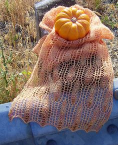 Free Knitting Pattern for Waves of Grain Scarf - Generously sized scarf with lace ends resembling heads of wheat connected by a middle section with a two-row repeat that can be memorized very quickly. Designed by Rosemary Hill