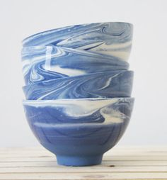 blue ceramic bowl set