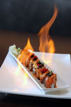 chicago foodie girl: Flaming Dragon Maki: shrimp temura, salmon, super white tuna, black tobiko & scallion at Miku Sushi