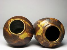 Studio Art Mid Century Pottery Two Vase Set Iron Oxide Wood Fired Signed P King | eBay