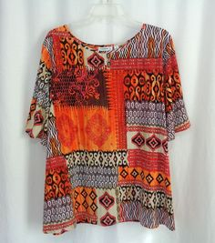 Womens Plus SUSAN GRAVER Colorful Tribal Block Print Stretch Knit Top Size 2X #SusanGraver #KnitTop #CareerCasual