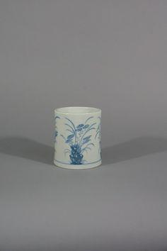 A Rare Korean Underglaze-blue Decorated Brush Pot  Choson Dynasty, 18th Century Height: 4 9/16 inches (11.6 cm)