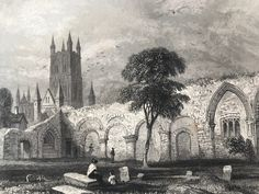 This is an original antique engraving, not a reproduction or modern copy. Source: A Volume of Winkle's Architectural and Picturesque Illustrationso f the Cathedral Churches of England and Wales published in 1843 This print is in good condition for its age. It does have markings though so please see listing photos for best description of condition. This engraving comes mounted, matted in antique white or black and is also available framed. We use archival matting methods so your print will be hel Gloucester Cathedral, Church Of England, Silver Frames, Cathedral Church, Photo Corners, Natural Materials, Wales, Framed Prints, The Originals