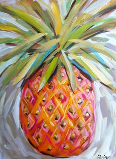Pineapple Painting Abstract Canvas Large pink by Marendevineart