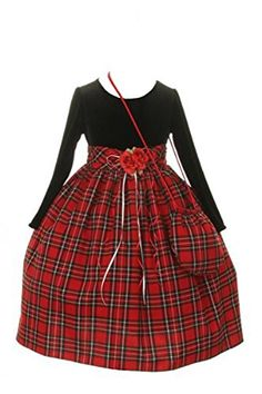290d70c72 Amazon.com: Girls Christmas Dress - Tartan Dress with Purse: Clothing. Red Flower  Girl DressesFlower GirlsLittle ...