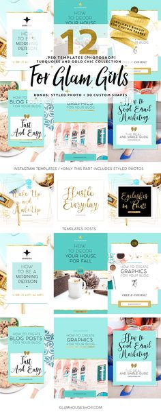 12 TEMPLATES FOR GLAM GIRLS + BONUS by Glam House Shop on @creativemarket