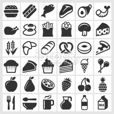 Food on Black and White royalty free vector icon set Royalty Free Stock Vector Art Illustration Free Vector Art, Vector Icons, Food Illustrations, Illustration Art, Food Icons, Photoshop Photos, Photo Effects, Icon Set, Black And White