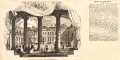 Illustration to a magazine or newspaper showing a view of the courtyard of the museum in Montagu House, 1846.