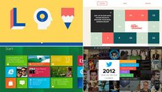Examples of Web sites and interfaces, including Microsoft, Twitter and the Interactive Advent Calendar, that use flat design, including Microsoft, Twitter and lorenzoverzini.com.