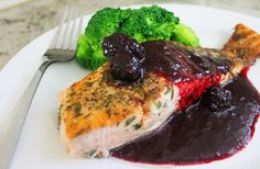 The key to my heart is gastrique on everything and red wine. Thyme encrusted salmon with blackberry gastrique