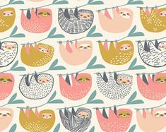 Cute Sloth Fabric |