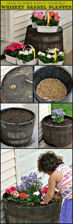How to Make a DIY Whiskey Barrel Flower Planter with step-by-step instructions. #garden #gardening #diy