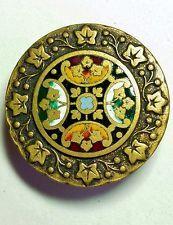 "#6G Exquisite Colorful Champlevé Enamel w/English Ivy Brass Button 1-7/16"""
