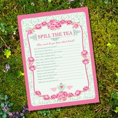 High Tea Party Game  Spill The Tea Party Game  by SunshineParties, $5.00