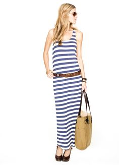 How cute would a bump look in this :) Hatch Tank Dress in Blue & Cream Stripe Jersey. #stylesquared
