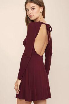 Burgundy Dress - Backless Dress - Long Sleeve Dress - Swing Dress - $39.00