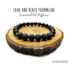 Lava and Black Tourmaline Bracelet // Stess by HealingGardenShop ☆☆Use promo code TRES10 for 10% off at HealingGardenShop.etsy.com & rockmyzen.com :) ☆☆