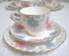 Vintage Tea Trio Plant Tuscan China Hand by TheWhistlingMan