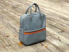 60s vinyl handbag smoke blue travel bag