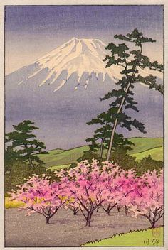 Fuji with cherry trees  by Kawase Hasui