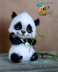 Needle felted baby panda bear by Julia yurkevich.