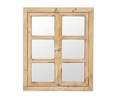 Espejo ventana enmarcado en madera, natural - 54x67 cm