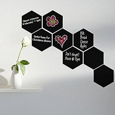"Yanqiao 4Pcs/set Hexagon Blackboard Chalkboard Label Wall Stickers Removable Vinyl Stickers Art Home Decorate 1Pcs Size 7.9*9.1"",Black"