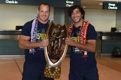 North Queensland Cowboys co-captain Matthew Scott and Johnathan Thurston hold the trophy at Sydney Airport for the flight back to Townsville Johnathan Thurston, Cowboys Win, National Rugby League, Brisbane Broncos, Best Football Players, Replay, Finals, Champion, Celebrities