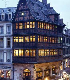 Hotel Baumann in Strasbourg Strasbourg, Alsace, Timber Buildings, Medieval Life, Voyage Europe, Tudor House, Beautiful Places In The World, Town And Country, Vintage Travel Posters