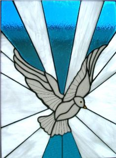 Tourquoise Rays With Dove - Delphi Stained Glass
