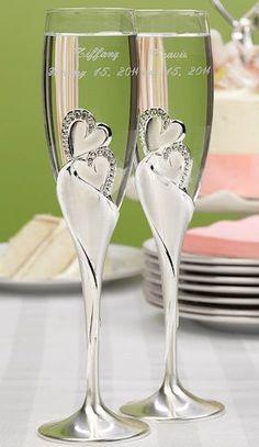 Skleničky na šampaňské - svatební * ručně zdobené srdíčky a datem svatby…