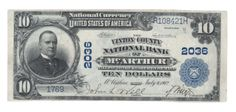 McArthur was the only city in Vinton County Ohio with a bank that issued national currency. There are only eight blue seals reported for it. And as you might guess, this pen signed beauty is the best of that group by leaps and bounds. The next closest is listed as fine.