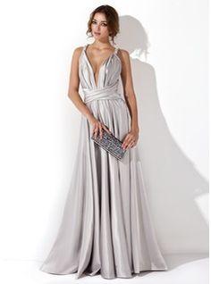 Abendkleider - $146.99 - A-Linie/Princess-Linie V-Ausschnitt Bodenlang Charmeuse Abendkleid mit Rüschen  http://www.dressfirst.de/A-Linie-Princess-Linie-V-Ausschnitt-Bodenlang-Charmeuse-Abendkleid-Mit-Rueschen-017020657-g20657