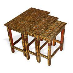 Show details for Style # 1076 - Damascene Mosaic nesting tables set.