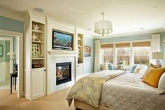 Traditional Bedroom Photos Romantic Master Bedroom Design, Pictures, Remodel, Decor and Ideas - page 13 Bedroom Built Ins, Cozy Bedroom, Modern Bedroom, Bedroom Decor, Bedroom Ideas, Bedroom Colors, Pretty Bedroom, Bedroom Curtains, Bedroom Wall
