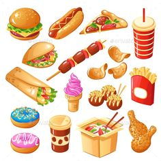 Set of icons fast food including drinks sandwiches noodle sweets fried potato chicken legs isolated vector illustration Hotdog Sandwich, Salad Sandwich, Noodles Games, Food Clipart, Food Icons, Board Game Design, Chicken Legs, Web Design Trends, Fried Potatoes