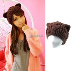 Korean-Winter-Women-Girl-Cute-Knit-Cat-Ear-Devils-Horn-Beanie-Hat-Cap-5Colors-B9