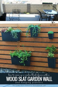 Cover up a cinder block fence with an easy DIY wood slat garden wall. This vertical planter wall uses affordable IKEA kitchen organizers as outdoor hanging planters! The Garden Glove featured on via Hanging Planters DIY Wood Slat Garden Wall with Planters Hanging Planters Outdoor, Fence Planters, Fence Garden, Ikea Hanging Planter, Hanging Plants On Fence, Garden Wall Planter, Garden Walls, Diy Wooden Planters, Concrete Planters
