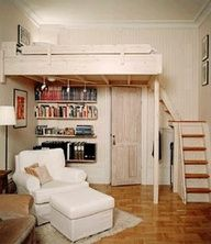A loft bed with storage in the corner under the chairs, books right under it and a nice chair and what looks like a couch. Places Id like to have in a smaller area #Artsandcrafts