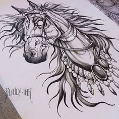Horse tattoo design by Family Ink Unicorn Tattoos, Tattoos Skull, Head Tattoos, Animal Tattoos, Sleeve Tattoos, Tattoo Ink, Tatoos, Horse Tattoo Design, Tattoo Designs