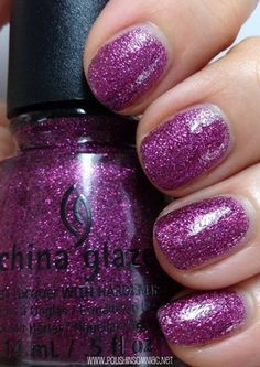 China Glaze Happy HoliGlaze Put A Bow On It is the first of three mircoglitters.  It is comprised of an even mix of purple and magenta glitters, which gives it a lot of depth, like a jewel!