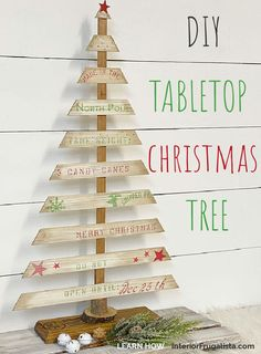 A Rustic DIY Tabletop Christmas Tree with Farmhouse Style by Interior Frugalista made with recycled louvered bifold door wooden slats and a festive crate style stencil. A budget holiday decorating idea for indoors or outdoors. #diychristmastree #woodenchristmascrafts #festivechristmasideas Wooden Christmas Crafts, Tabletop Christmas Tree, Christmas Diy, Christmas Decorations, Farmhouse Tabletop, Farmhouse Furniture, Budget Holiday, Holiday Ideas, Diy Furniture Decor
